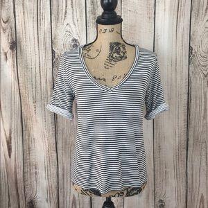 Alice & Olivia Striped Vneck Shirt M/L Cuff Sleeve